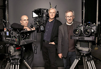 James Cameron (in the center) with 3D Fusion Camera