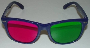 Trioscopic green-magenta anaglyph glasses