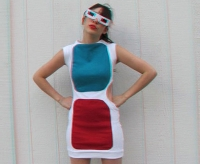 Girl in anaglyph glassed dress preview