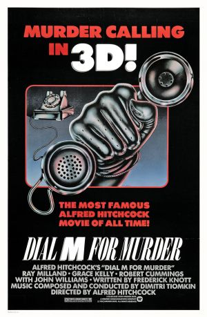 Poster for Dial M for Murder in 3D, directed by Alfred Hitchcock