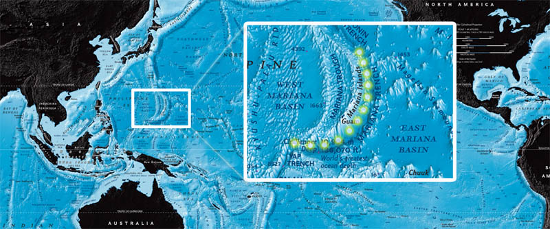 The Mariana Trench map