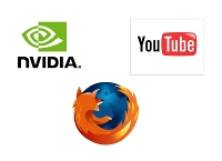logos of NVIDIA, youtube and firefox