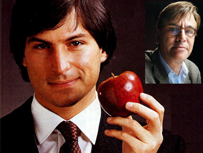 Young Steve Jobs with apple